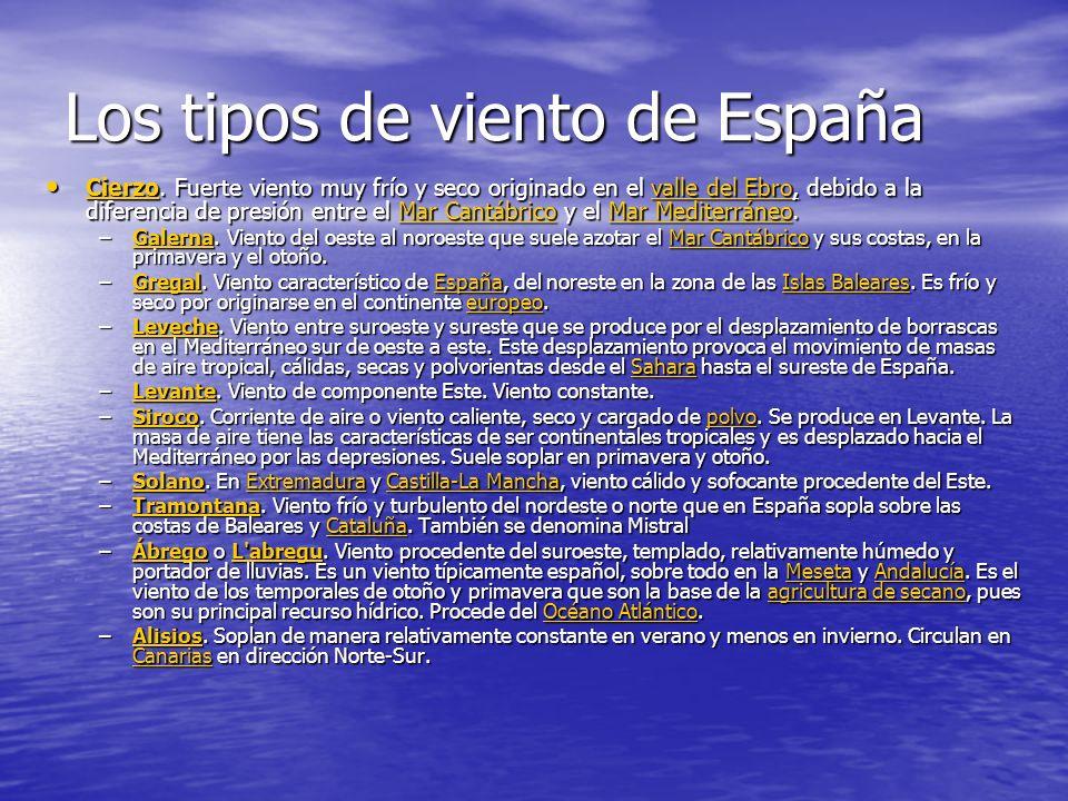 Los tipos de viento de España