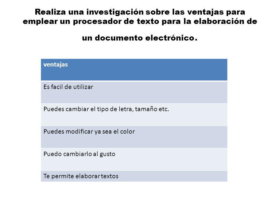 Realiza una investigación sobre las ventajas para emplear un procesador de texto para la elaboración de un documento electrónico.
