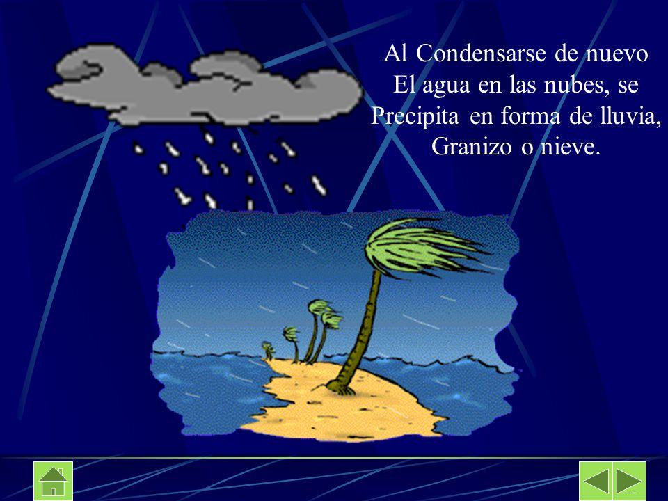 Al Condensarse de nuevo El agua en las nubes, se