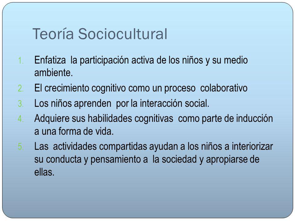 Teoría Sociocultural Enfatiza la participación activa de los niños y su medio ambiente. El crecimiento cognitivo como un proceso colaborativo.