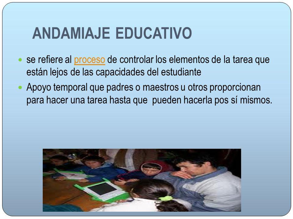ANDAMIAJE EDUCATIVO se refiere al proceso de controlar los elementos de la tarea que están lejos de las capacidades del estudiante.