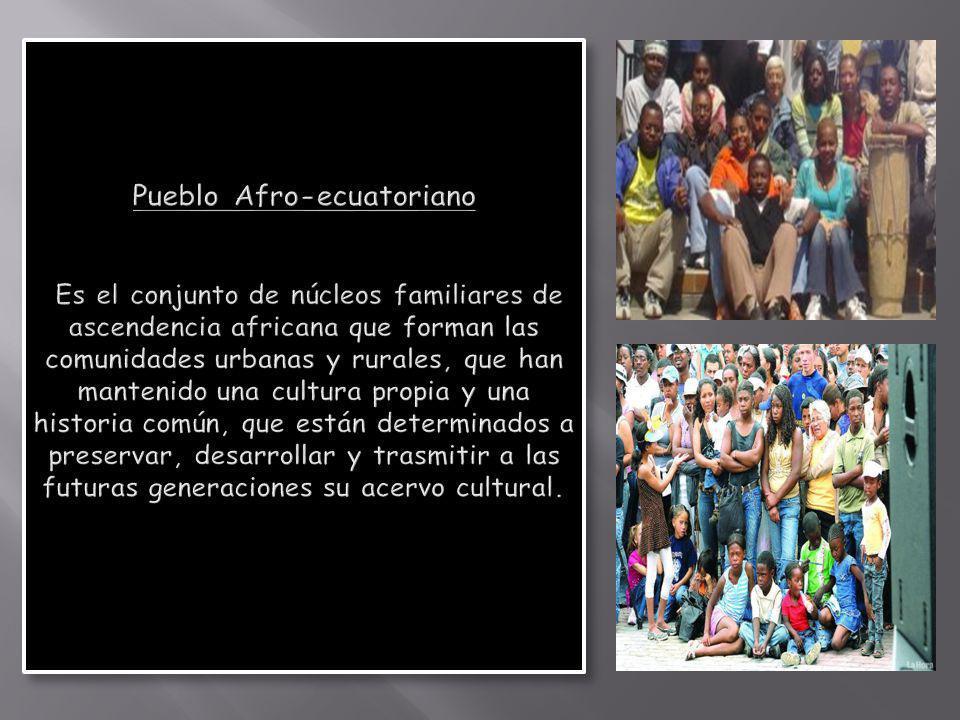 Pueblo Afro-ecuatoriano Es el conjunto de núcleos familiares de ascendencia africana que forman las comunidades urbanas y rurales, que han mantenido una cultura propia y una historia común, que están determinados a preservar, desarrollar y trasmitir a las futuras generaciones su acervo cultural.