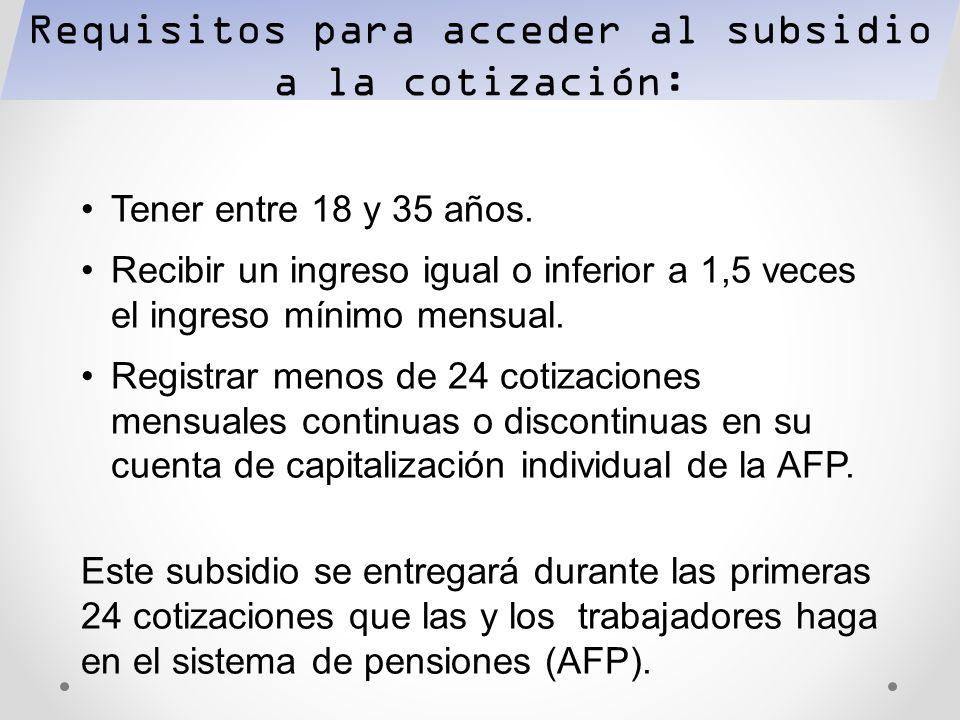 Requisitos para acceder al subsidio a la cotización: