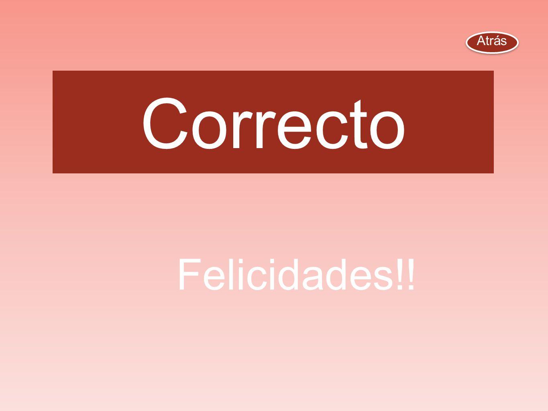Atrás Correcto Felicidades!!