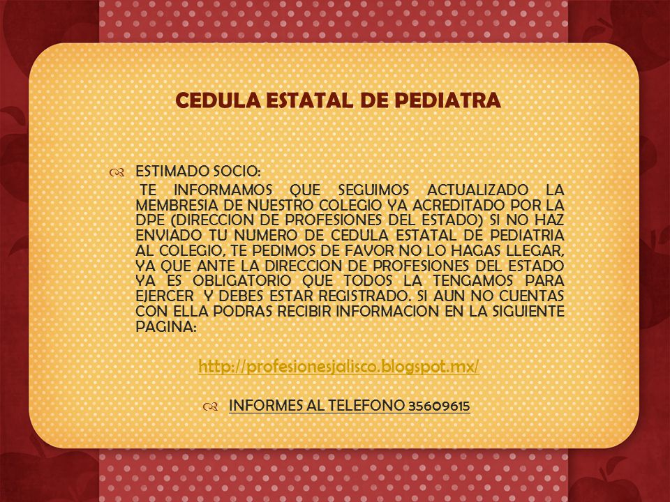 CEDULA ESTATAL DE PEDIATRA