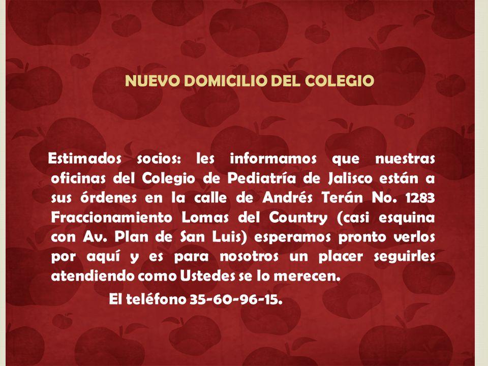 NUEVO DOMICILIO DEL COLEGIO