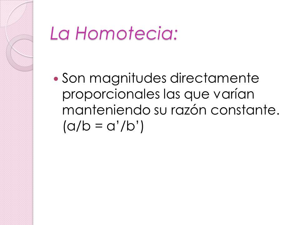 La Homotecia: Son magnitudes directamente proporcionales las que varían manteniendo su razón constante.