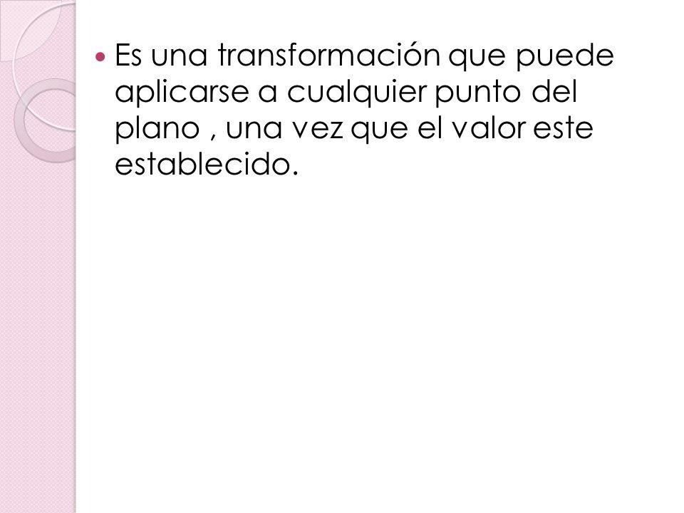 Es una transformación que puede aplicarse a cualquier punto del plano , una vez que el valor este establecido.
