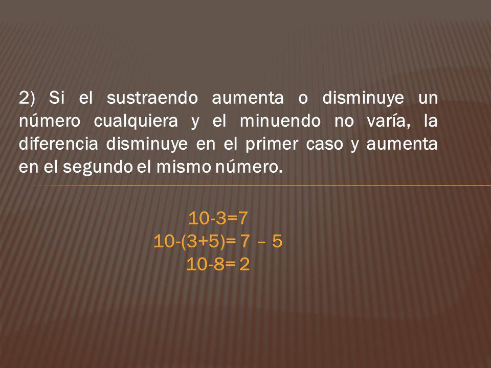 2) Si el sustraendo aumenta o disminuye un número cualquiera y el minuendo no varía, la diferencia disminuye en el primer caso y aumenta en el segundo el mismo número.