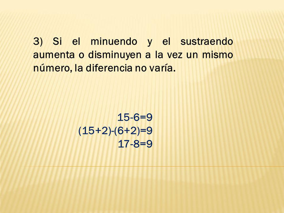 3) Si el minuendo y el sustraendo aumenta o disminuyen a la vez un mismo número, la diferencia no varía.