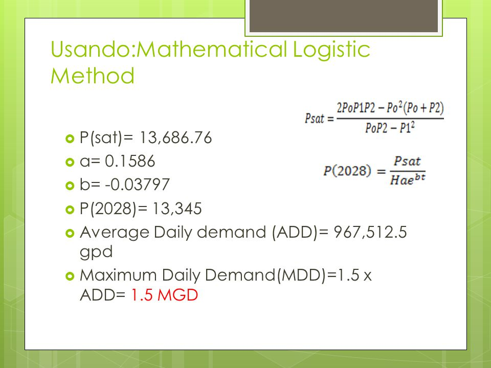Usando:Mathematical Logistic Method