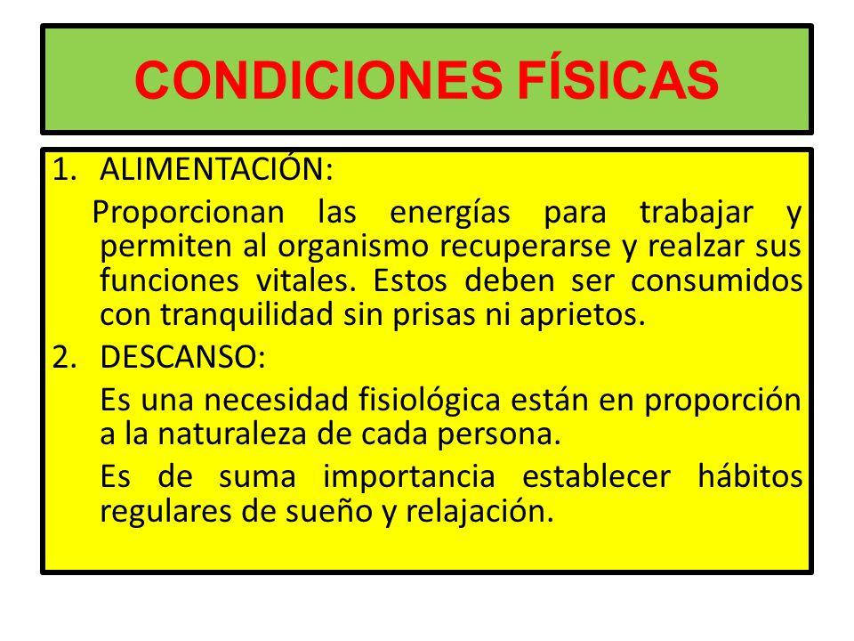 CONDICIONES FÍSICAS ALIMENTACIÓN: