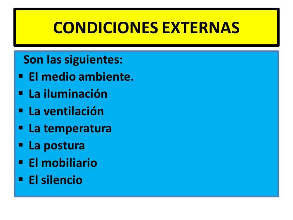 CONDICIONES EXTERNAS Son las siguientes: El medio ambiente.