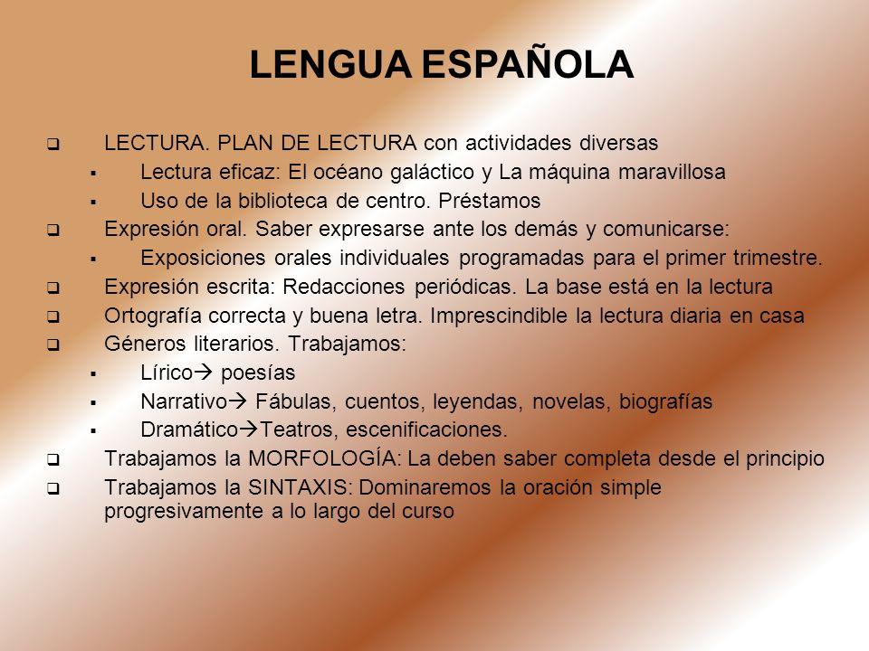 LENGUA ESPAÑOLA LECTURA. PLAN DE LECTURA con actividades diversas