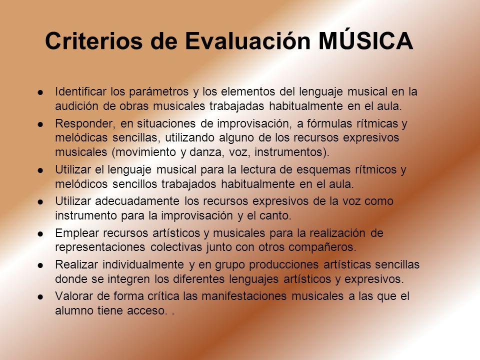 Criterios de Evaluación MÚSICA