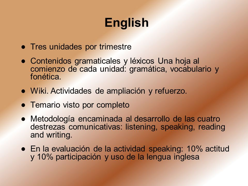 English Tres unidades por trimestre