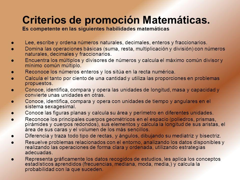 Criterios de promoción Matemáticas