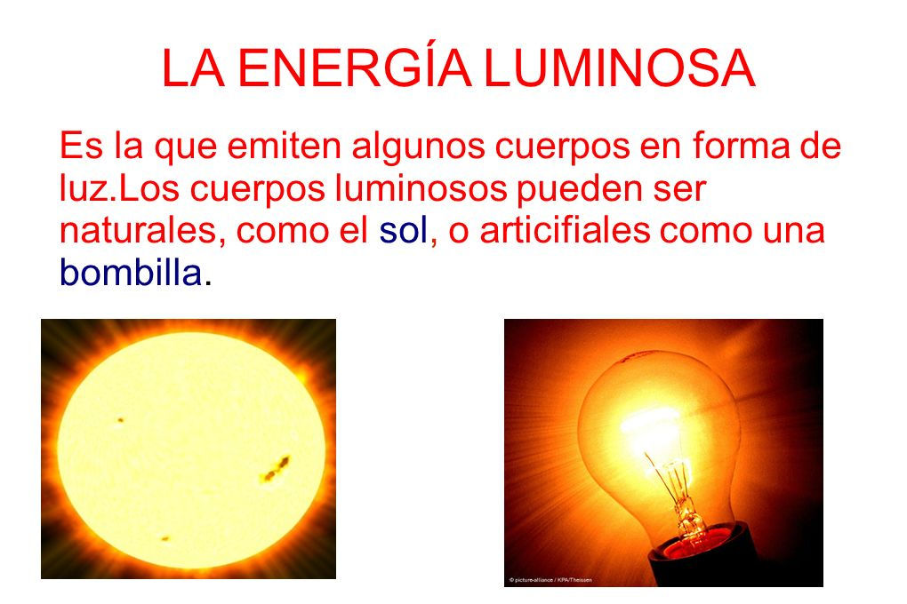 LA ENERGÍA LUMINOSA