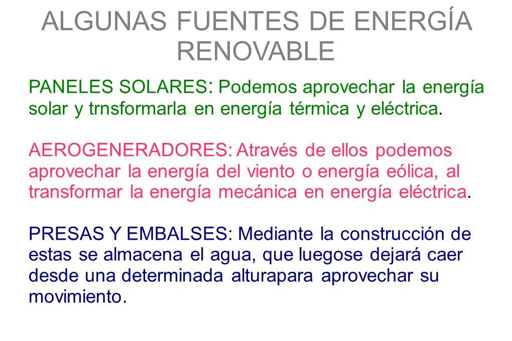 ALGUNAS FUENTES DE ENERGÍA RENOVABLE