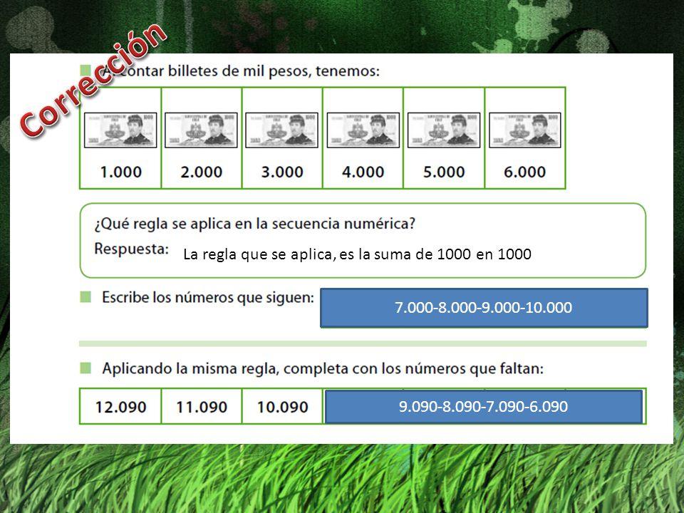 Corrección La regla que se aplica, es la suma de 1000 en 1000