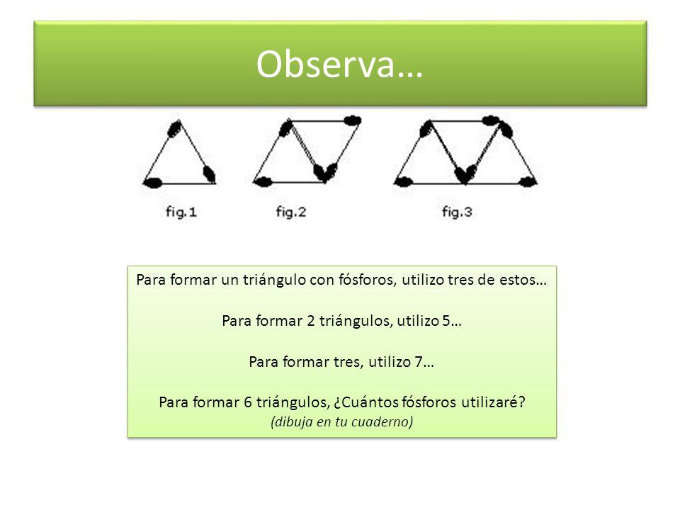 Observa… Para formar un triángulo con fósforos, utilizo tres de estos…