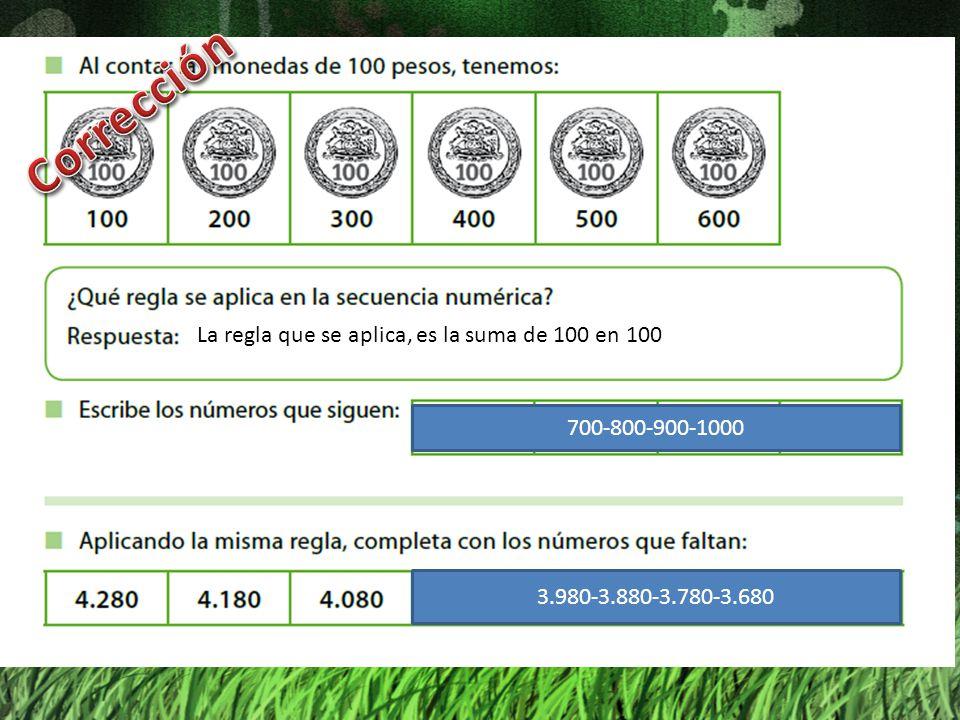 Corrección La regla que se aplica, es la suma de 100 en 100