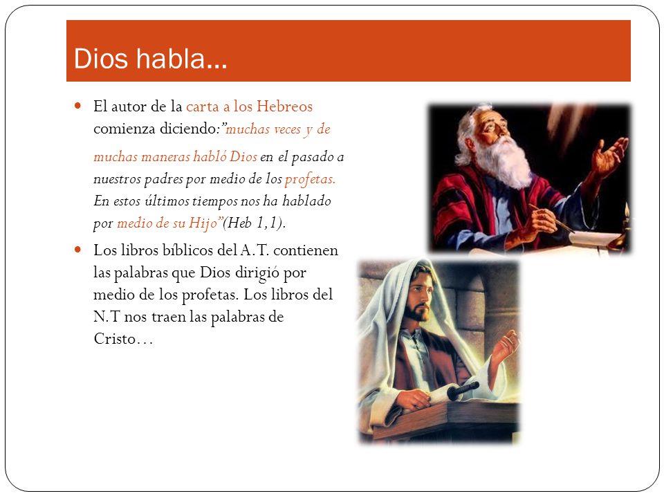 Dios habla… El autor de la carta a los Hebreos comienza diciendo: muchas veces y de.
