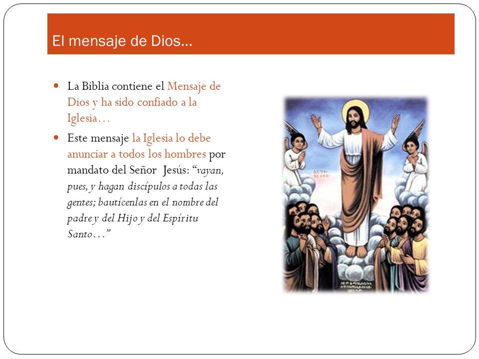 El mensaje de Dios… La Biblia contiene el Mensaje de Dios y ha sido confiado a la Iglesia…