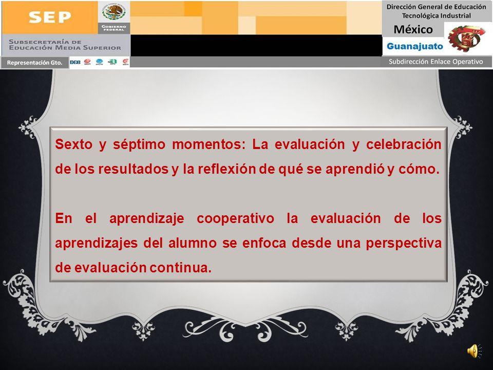 Sexto y séptimo momentos: La evaluación y celebración de los resultados y la reflexión de qué se aprendió y cómo.