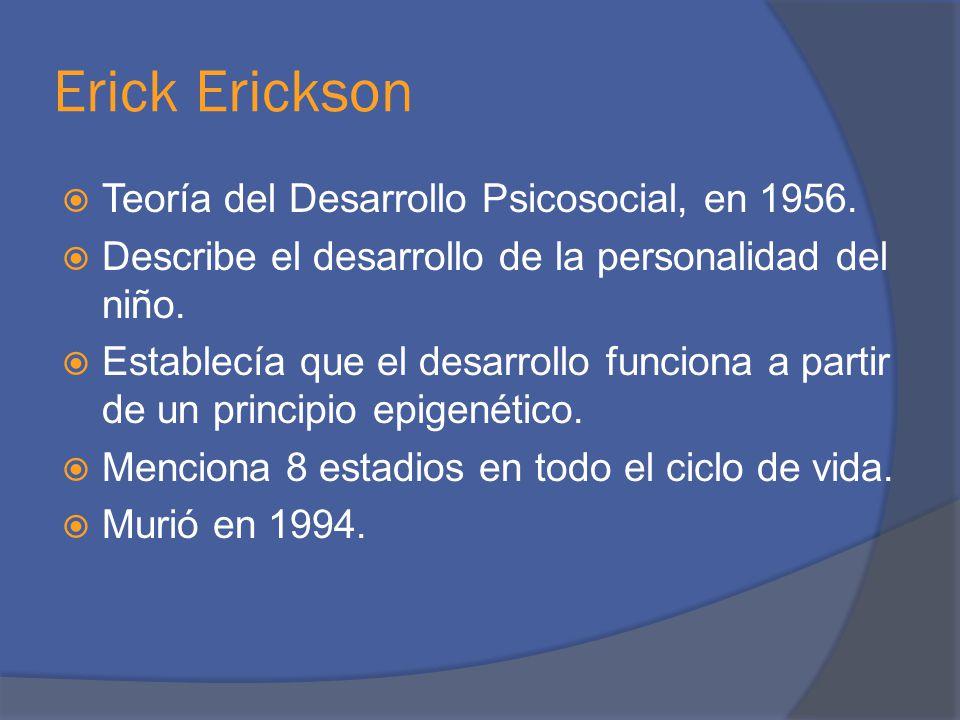 Erick Erickson Teoría del Desarrollo Psicosocial, en 1956.