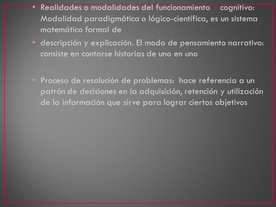 Realidades o modalidades del funcionamiento cognitivo: Modalidad paradigmática o lógico-científica, es un sistema matemático formal de