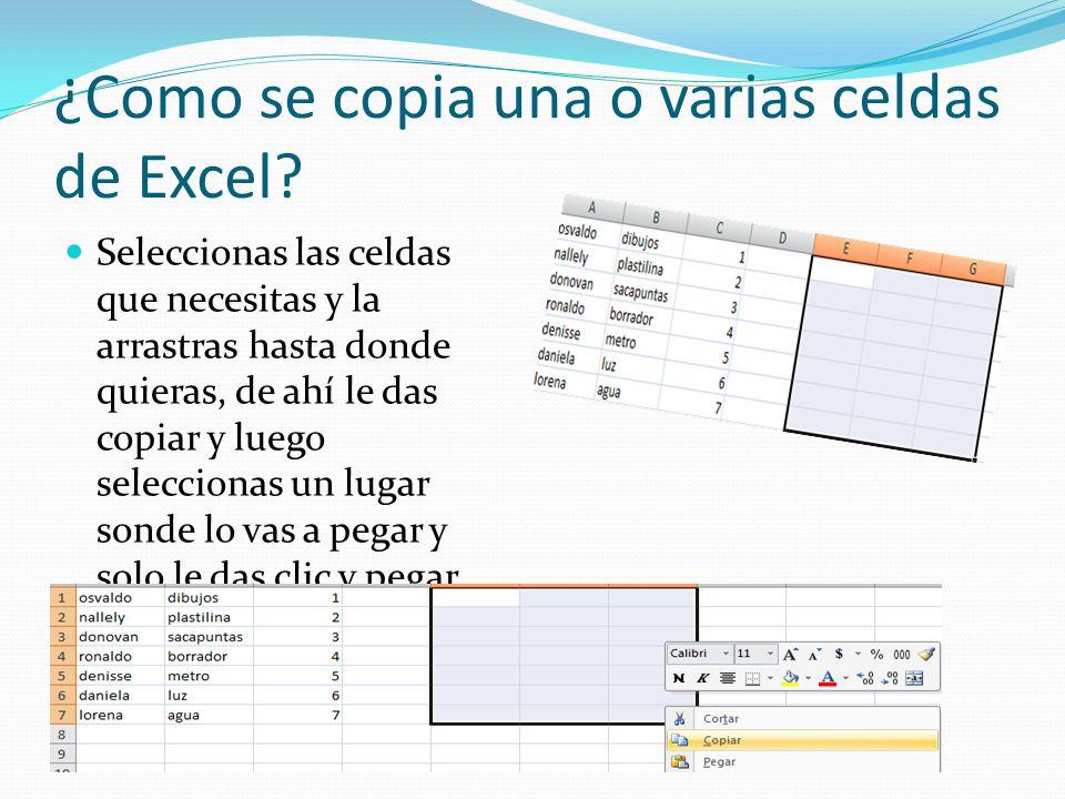 ¿Como se copia una o varias celdas de Excel