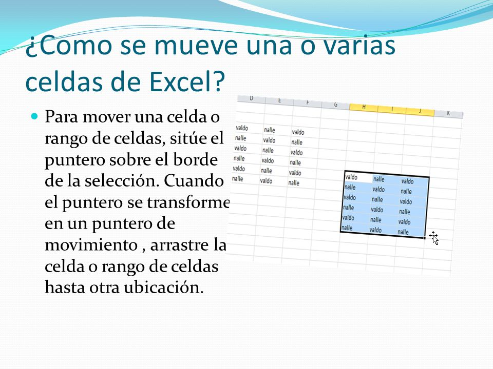 ¿Como se mueve una o varias celdas de Excel