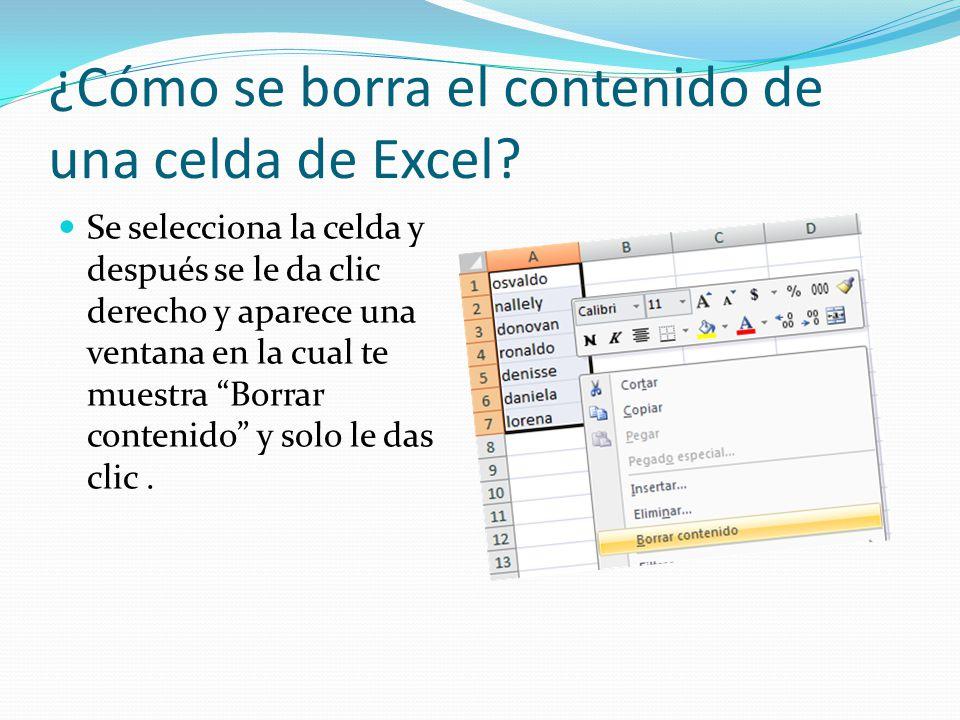 ¿Cómo se borra el contenido de una celda de Excel