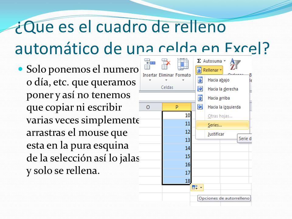 ¿Que es el cuadro de relleno automático de una celda en Excel