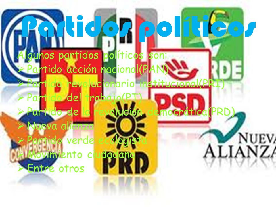 Partidos políticos Algunos partidos políticos son: