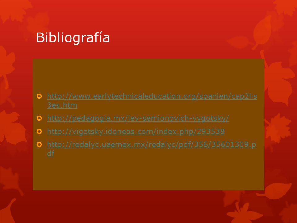 Bibliografía http://www.earlytechnicaleducation.org/spanien/cap2lis 3es.htm. http://pedagogia.mx/lev-semionovich-vygotsky/