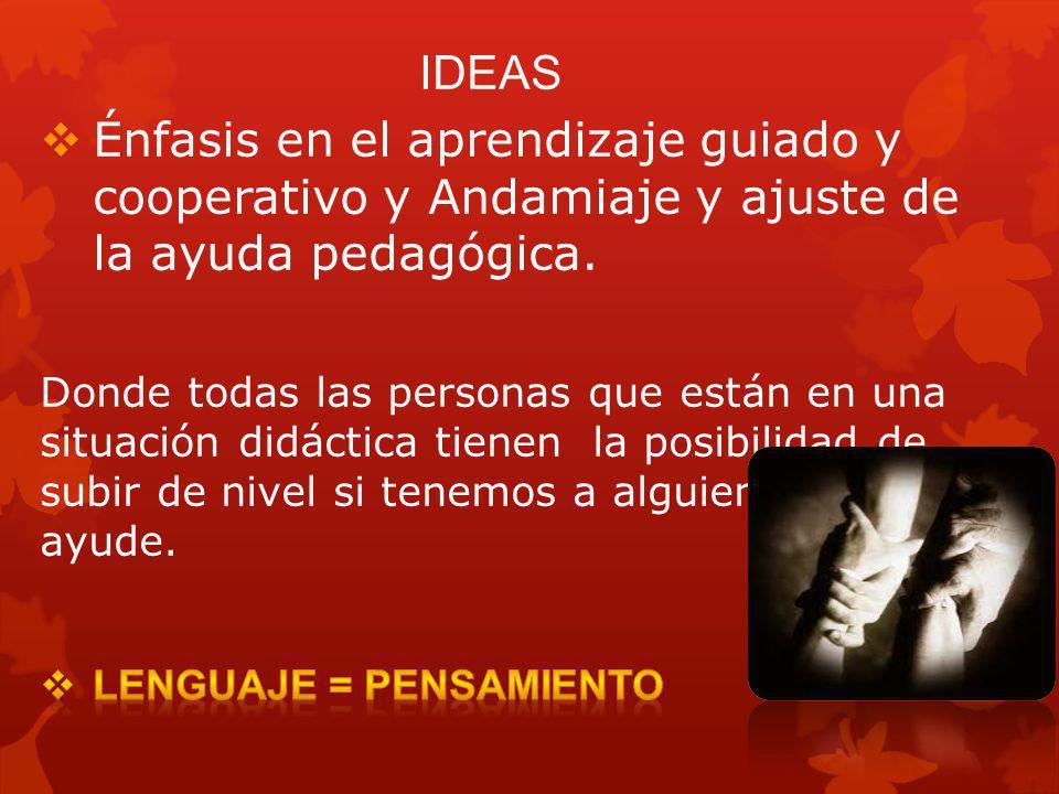 IDEAS Énfasis en el aprendizaje guiado y cooperativo y Andamiaje y ajuste de la ayuda pedagógica.
