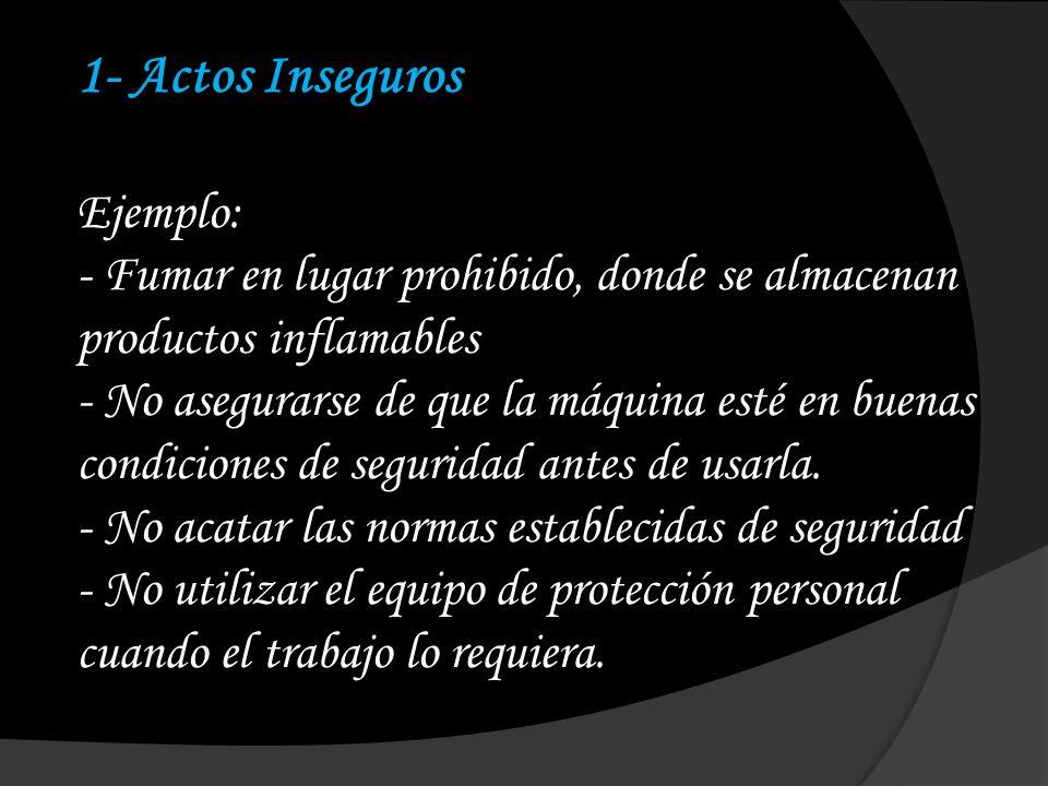 1- Actos Inseguros Ejemplo: