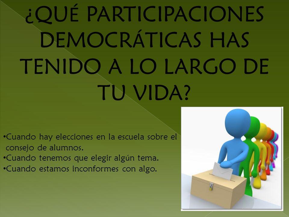 ¿QUÉ PARTICIPACIONES DEMOCRÁTICAS HAS TENIDO A LO LARGO DE TU VIDA