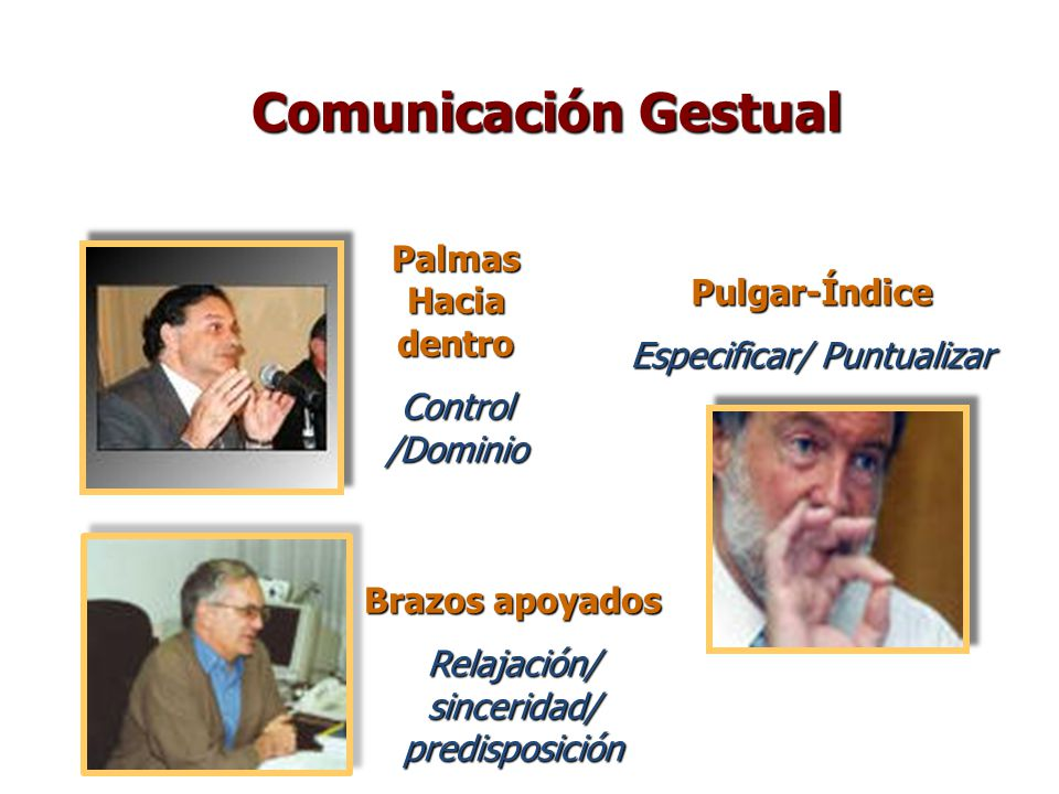 Comunicación Gestual Palmas Hacia dentro Pulgar-Índice