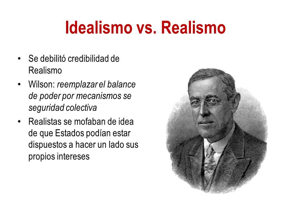 Idealismo vs. Realismo Se debilitó credibilidad de Realismo