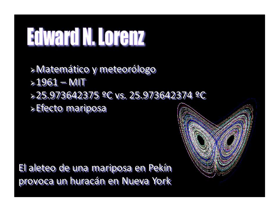 Edward N. Lorenz Matemático y meteorólogo 1961 – MIT