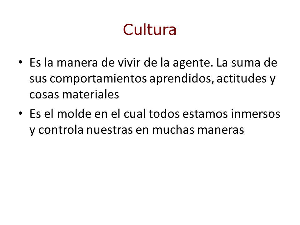 Cultura Es la manera de vivir de la agente. La suma de sus comportamientos aprendidos, actitudes y cosas materiales.