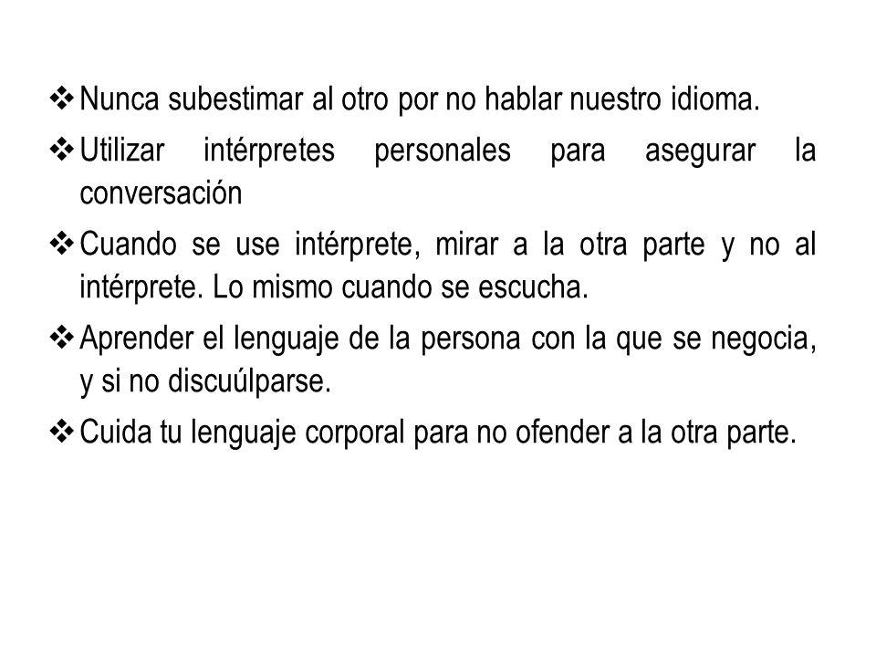 Nunca subestimar al otro por no hablar nuestro idioma.
