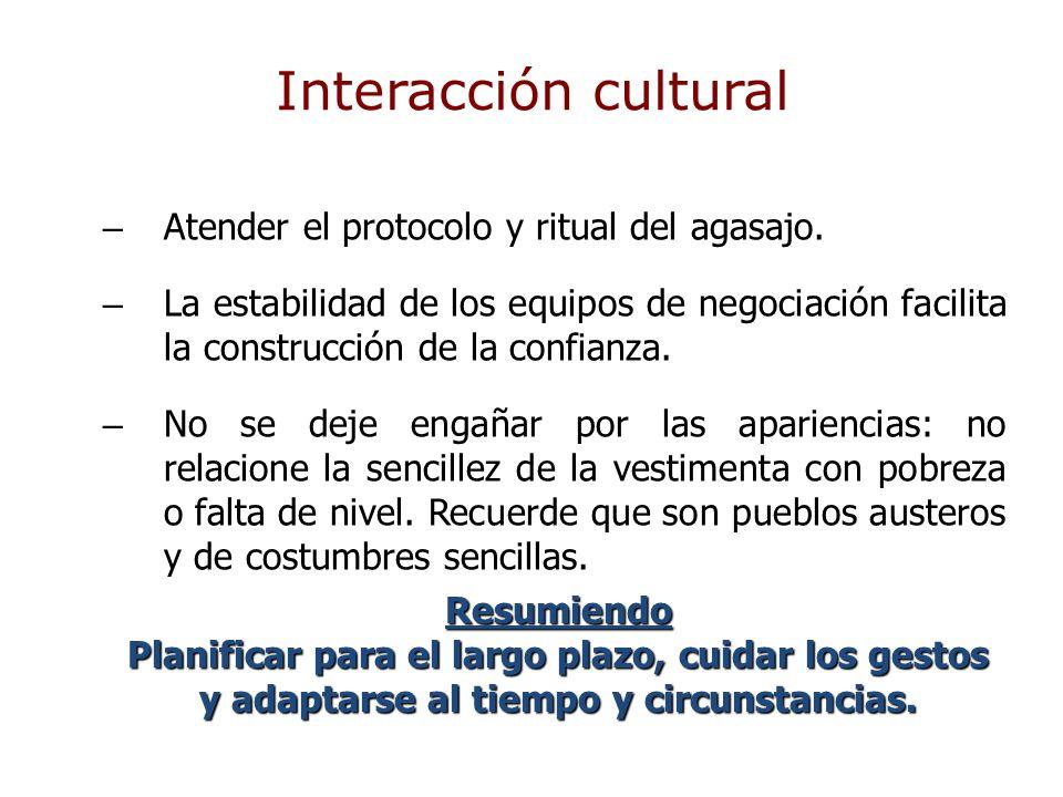 Interacción cultural Atender el protocolo y ritual del agasajo.