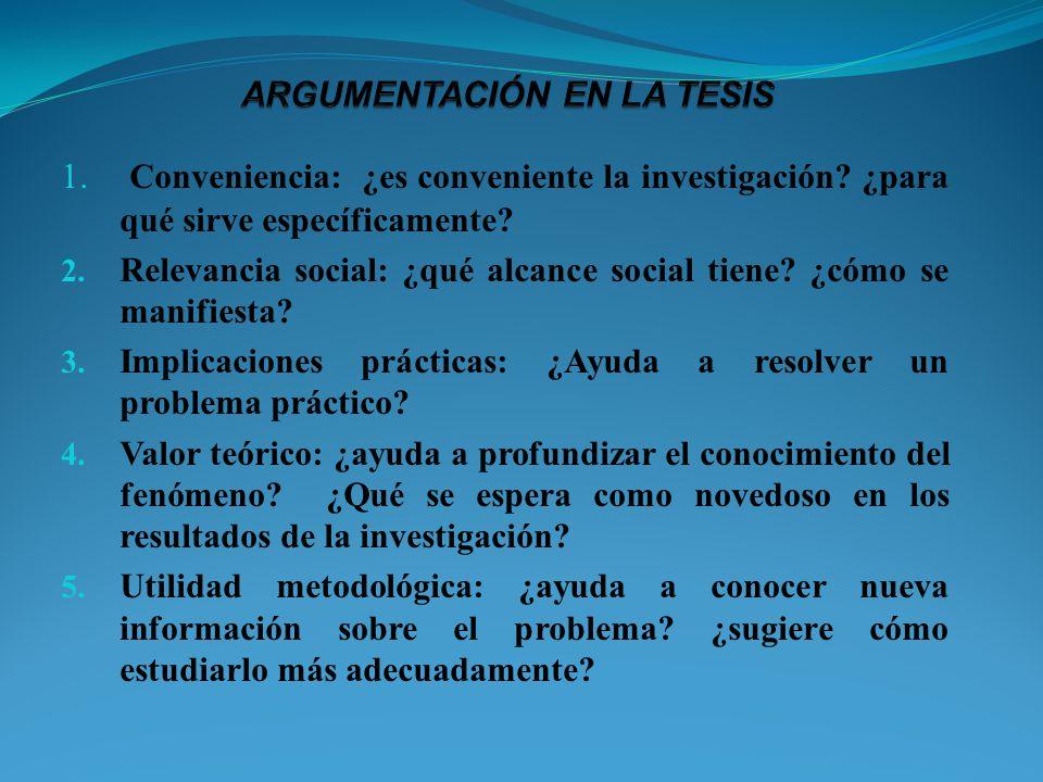 ARGUMENTACIÓN EN LA TESIS
