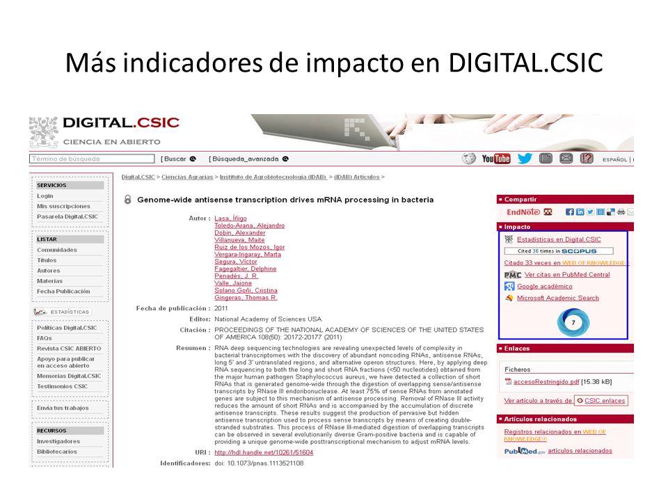 Más indicadores de impacto en DIGITAL.CSIC