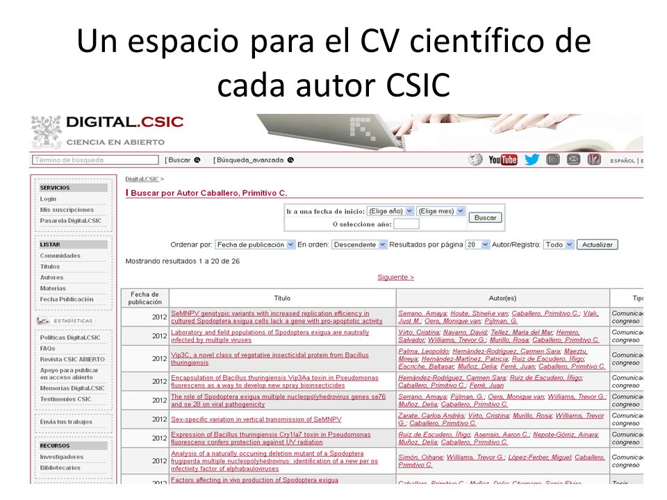 Un espacio para el CV científico de cada autor CSIC