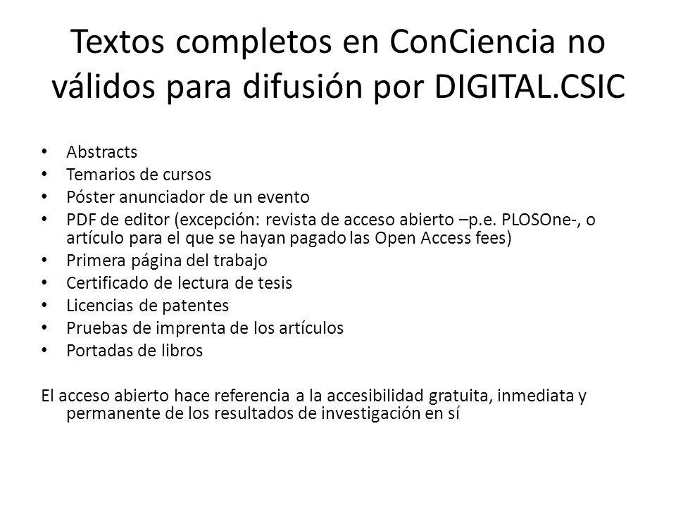 Textos completos en ConCiencia no válidos para difusión por DIGITAL